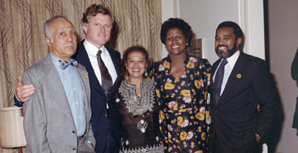 Senator Edward Kennedy with the Snowdens, Ellen Jackson, and Bertram Lee, 1980.