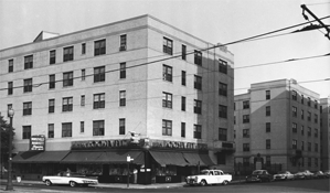 The Roosevelt Apartments, later the West Dormitory for Men and now White Hall, 1960.