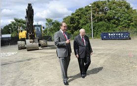 President Joseph Aoun and George J. Kostas at the site of the George J. Kostas Research Institute for Homeland Security, 2010.
