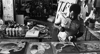 Dana Chandler of the African-American Master Artists in Residence program in his studio, 1976.
